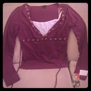 NWT. Grape colored top with white tank.